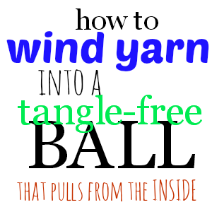 "It's easy to wind yarn (or any other similar material, like string, twine, etc.) into a ""pull from the inside"" ball. It won't look much like the commercial skeins (at least mine never do) but it works like a charm."
