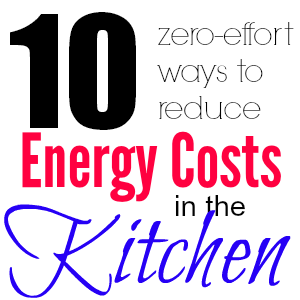 Save money in the kitchen! Here are ten zero-effort ways to reduce the amount of energy you use in food preparation, storage, and cleanup.